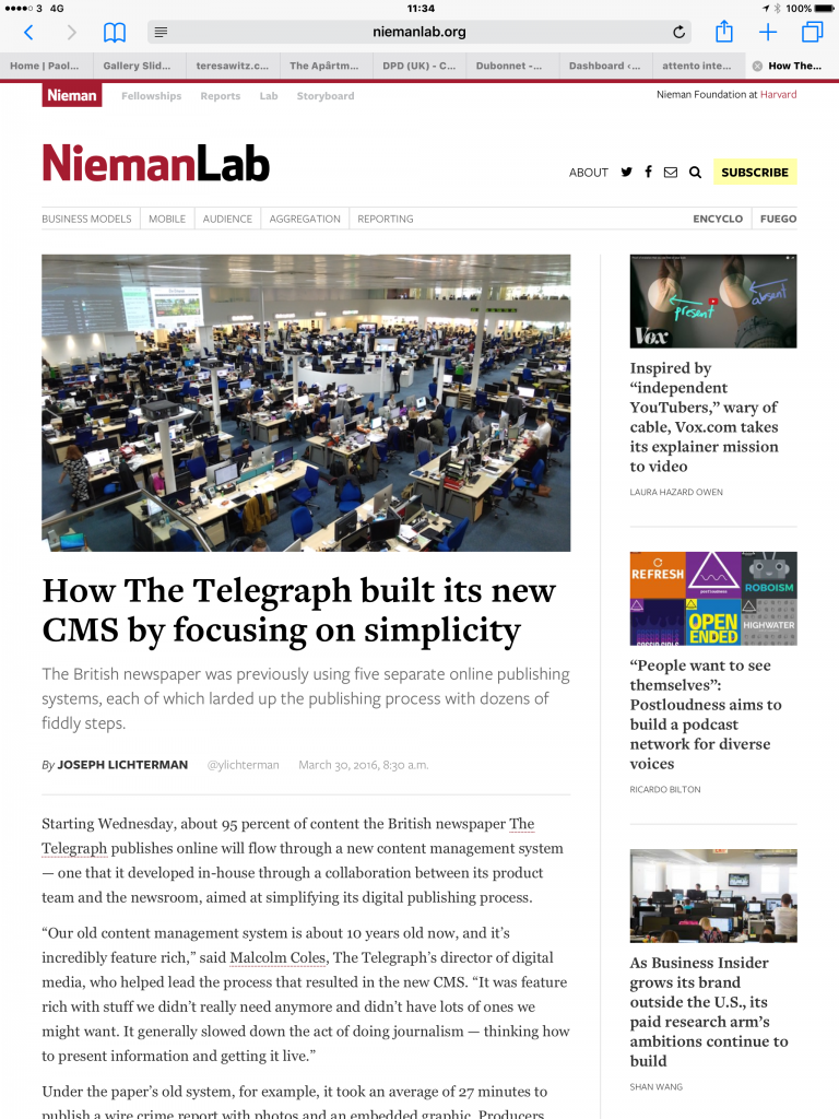 Screenshot of the Nieman Lab article 'How The Telegraph built its new CMS by focusing on simplicity'